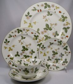 Wedgwood Wild Strawberry Place Setting: Dinner, Salad, B&B, Tea Cup & Saucer. $79.50 ea, 10 sets available at vintagetabletop on ebay, 5/14/16