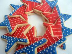 STAR SPANGLED STAR Decorated Sugar Cookies, 1 Dozen