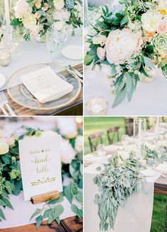 The open-air reception incorporated organic elements such as a live table runner and succulent-embellished cake. Rustic Cream & Blush Arizona Wedding | Rachel Solomon Photography http://www.colincowieweddings.com/flowers-and-decor/rustic-cream-blush-arizona-wedding