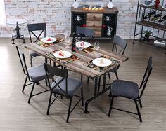 Make your dining room feel like an open & airy retreat with the Industrial Pipe Inspired Metal Wood Dining Table Set.
