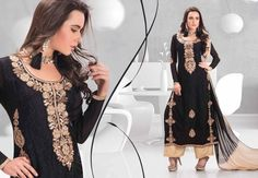 Unfold the aura of freshness with this #BLACK #BRASSO #PAKISTANI #SALWAR #KAMEEZ displaying a touch of sensuality. The lovely patch work lace work a substantial attribute of this attire.