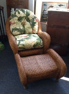 Woven rattan easy chair and ottoman with indoor/ outdoor cushions for getting comfy on your lanai. SOLD
