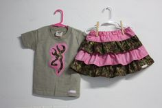Girls Browning deer Camo and pink Outfit  Ruffle by Beautiful6, $30.00