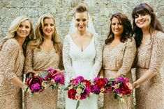Images by Francesca Secolonovo Photography - Lace Pronovias Marcel Gown | The Barn at Bury Court | Rustic Wedding | Navy, Red & Gold Colour Scheme | Gold Sequin Bridesmaid Dresses | Francesca Secolonovo | http://www.rockmywedding.co.uk/sophie-andy/