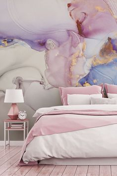 Step into this pastel cloud paradise in our Dreamy Pastel and Gold mural. This geode-effect wallpaper will completely alter the look of your room. Beautiful in bathrooms or bedrooms, this watercolour art brings a sense of calm and relaxation. Do you own a beauty salon or hairdressers? Do you feel like this marble-effect watercolour mural would add a wow factor for your customers? Discover more from Wallsauce! #wallpaper #marble #pinkwallpaper #pink #bedroominspo #featurewall Pink Wallpaper, Peel And Stick Wallpaper, Wall Wallpaper, Pastel Clouds, Aesthetic Room Decor, Marble Effect, Design Your Home, Queen Size Bedding, Bedroom Inspo