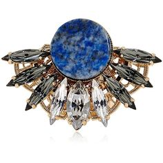 ANTON HEUNIS Round Crystal Fan Ring - Blue (£150) ❤ liked on Polyvore featuring jewelry, rings, accessories, blue, crystal jewellery, crystal rings, crystal jewelry, crystal stone jewelry and blue crystal jewelry