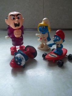 Vintage Set of 4 Smurfs Characters Papa by TheHoneysuckleTree, $8.00