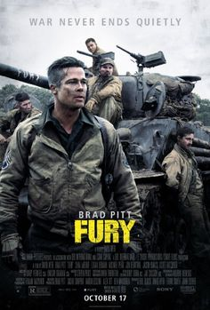 """The war film """"Fury"""" written and directed by David Ayer and starring Brad Pitt, Shia LaBeouf, Logan Lerman, Jon Bernthal, and Michael Pena begins playing across the country starting this Friday. Film D'action, Bon Film, Film Serie, Drama Film, Shia Labeouf, Streaming Movies, Hd Movies, Movies To Watch, Movies Online"""