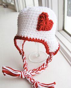 Valentine baby crochet hat