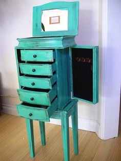 X Large Light Teal Wooden Jewelry Box / Chest