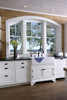 transition between farmhouse & cabinet -