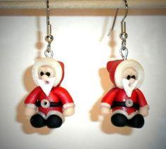 Ohrringe Weihnachtsmann Nikolaus Modeschmuck handegefertigt aus Fimo Edelstahl Hänger Damen Ohrschmuck Neuware