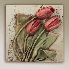 Design of the month April -- Tulip Garden -- Carruth Studio: Waterville, OH Ceramic Wall Art, Ceramic Clay, Ceramic Pottery, Pottery Art, Ceramic Flowers, Clay Flowers, Clay Projects, Clay Crafts, Wallpaper Nature Flowers