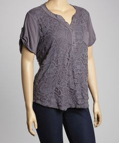 Plum Lace Henley - Plus #zulily #zulilyfinds