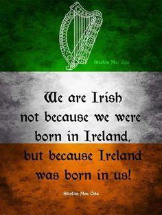 I Have Irish Ancestry and Proud of it! We are Irish not because we were born in Ireland, but because Ireland was born in us. Quotes about Ireland and Irish people. Immigration Quebec, Dublin, Le Connemara, Irish Quotes, Irish Sayings, Irish Proverbs, Irish American, American Women, American Art