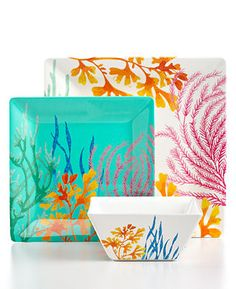 Martha Stewart Collection Dinnerware, Coral Sea Melamine Collection - I love these!