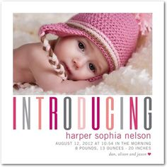 Girl Photo Birth Announcements - Heart Headline: Begonia by Tiny Prints