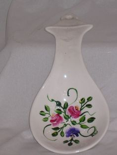 Hand painted White Ceramic Spoon Rest with Roses by ArtisticAngel