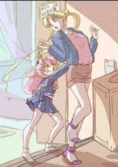 Sailor Moon and Mini Moon
