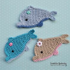Crochet dolphin appliqué  pattern DIY by VendulkaM on Etsy