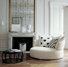 White living room with graphic pops