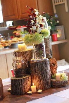 Fun autumn wedding table centerpiece! Fill this centerpiece with candles and florals from Old Time Pottery!  http://www.oldtimepottery.com/                                                                                                                                                      Mais