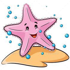 Buy Starfish Cartoon by rubynurbaidi on GraphicRiver. Illustration of cute cartoon starfish. Starfish Clipart, Cartoon Starfish, Cartoon Sea Animals, Cartoon Fish, Starfish Drawing, Happy Paintings, Art Background, Drawing For Kids, Cute Illustration