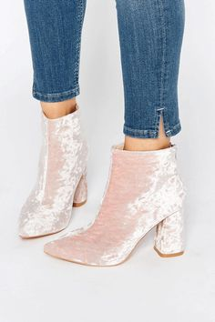 """10 Ways To Satisfy Your Velvet-Shoe Fetish #refinery29  http://www.refinery29.com/2016/08/119922/velvet-shoes-trend-boots-sandals#slide-1  A pointed boot in the palest of pinks, kind of like the interior of your grandma's bathroom, but all the more spectacular for it.Daisy Street Pink Crushed Velvet Ankle Boots, $53.19, available at <a href=""""http://www.asos.com/daisy-street/daisy-street-pink-crushed-velvet-point-heeled-ankle-boots/prod/pgeproduct.aspx?iid=6730480&clr=Pinkcrushedvelvet&am..."""