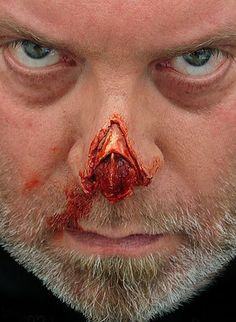 I really like how prosthetics have been used in this to create the appearance of a missing nose tip, something like this would work well for a zombie character.