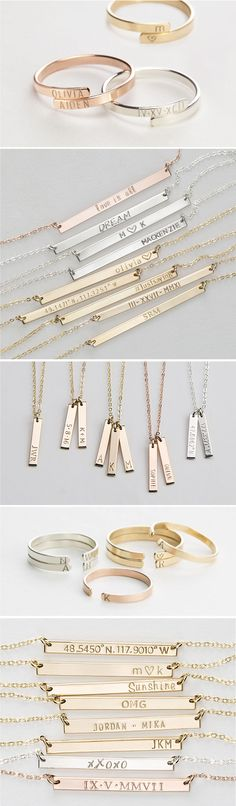 """Personalized Jewelry Gifts!  Special, Meaningful Necklaces, Rings & Bracelets.  Guaranteed to get you voted """"Most Thoughtful, Sweetest Gifter""""."""