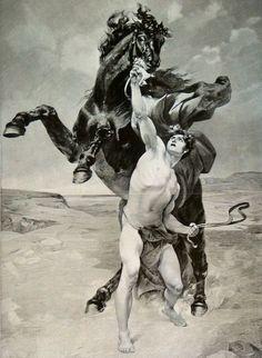 Les chevaux historiques - Bucéphale - Alexandre et Bucéphale par François Schommer avant 1935