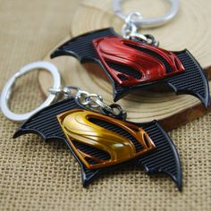 Black Red Yellow Cartoon Batman V Superman Metal Car Key Chain Keyring Gift Batman Vs Superman, Superman Movies, Superman Action Figure, Bronze, Chain Pendants, Gifts For Boys, Dc Universe, Jewelry Sets, Fans