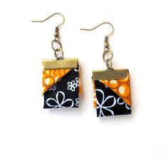 Origami east west fabric earrings in mustard and black by Gilgulim, $14.80
