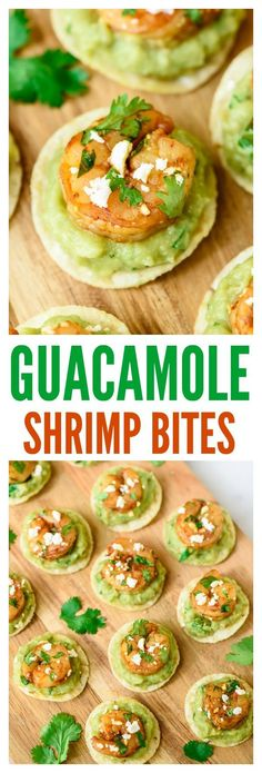Spicy Guacamole Shrimp Bites. Fast, easy, and SO addictive! The perfect appetizer recipe for your next party. #partyideas #appetizer #avocado