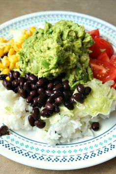 """""""Vegetarian Burrito Plate"""" from Vegetarian Burrito, Vegetarian Mexican, Mexican Dinner Recipes, Vegetarian Recipes, Healthy Recipes, Burritos, Frugal Meals, Budget Meals, Frugal Recipes"""