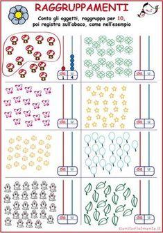 Decine e unità esercizi: schede da scaricare | Genitorialmente Math 2, Kindergarten Math, Teaching Math, Primary Maths, Primary School, Color By Numbers, Simple Math, Stem Projects, Math For Kids