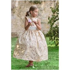 Isobel ivory and purple embroidered flower girl dress with flounce sleeves by UK designer Little Eglantine Pretty Flower Girl Dresses, Designer Flower Girl Dresses, Flower Girls, Gold Ivory Wedding, Yellow Wedding, Gold Weddings, Winter Weddings, Girls Bridesmaid Dresses, Wedding Bridesmaids