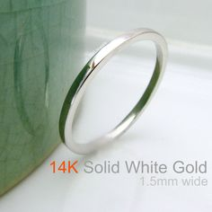 Promotion - 14K Solid White Gold Wedding Band - Stackable Flat Square Tiny Skinny Ring - Wedding Anniversary Promise - Matte or Polished
