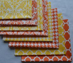 Yellow and Orange Fabric/ Fat Quarter Bundle/Cotton Sewing Material/10 Fat Quarters/Quatrefoil, Houndstooth, Damask/Riley Blake/Quilting by RunnStitch on Etsy https://www.etsy.com/listing/239118352/yellow-and-orange-fabric-fat-quarter
