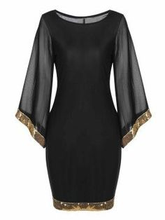 Sleeve Sequined Trim Cocktail Bodycon Pencil Party Dress - Women's style: Patterns of sustainability Cheap Dresses, Elegant Dresses, Cute Dresses, Beautiful Dresses, Short Dresses, Party Dresses With Sleeves, Bodycon Dress With Sleeves, Chiffon Dress, Sleeve Dresses