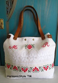 27-V.upcycled hand embroidered bag/linen bag/upcycled antique embroidery/linen shoulder bag/hand embroidery bag/reused embroidery/handbag