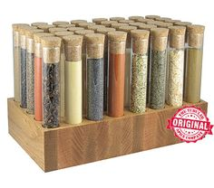 Wickwood Test Tube Spice Rack. e-eighty-five dollars. good looking for a test tube solution.