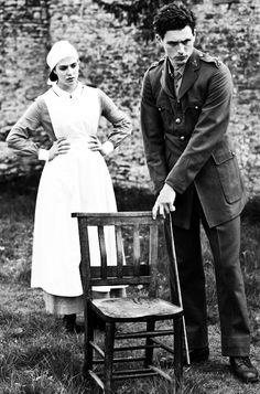 Jessica Brown Findlay as Lady Sybil Crawley and Lachlan Nieboer as Lieutenant Edward Courtenay in Downton Abbey