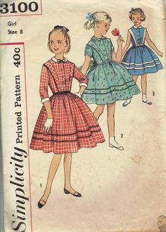 Party Tea Dress Simplicity 1950s Vintage by AdeleBeeAnnPatterns