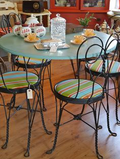As temperatures soar in the Northern Virginia region this week, stop by Rust & Feathers to see what's new in the shop. and to coo. Iron Furniture, Refurbished Furniture, Painted Furniture, Home Furniture, Patio Table, Table And Chairs, Tables, Grant House, Dinette Sets
