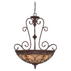 """Victorian-inspired pendant in bronze with scrollwork over an amber glass shade.  Product: PendantConstruction Material: MetalColor: Bronze, gold and soft amberFeatures:  Brings Old World elegance to your homeScrolling silhouette Accommodates: (5) 100 Watt medium base bulbs  - not includedDimensions: 34"""" H x 23"""" Diameter"""