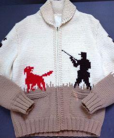 Vtg Cowichan Wool Sweater Pheasant Hound Hunting Hand Knit M/L Sz 44  #NA #Cardigan