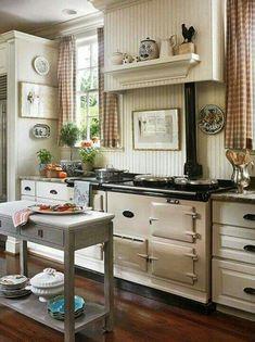 Rustic kitchen decor reminds me of my grandma's kitchen.  Good kitchen memories