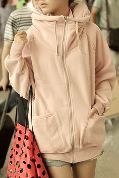 Casual Loose-Fitting Zippered Long Sleeve Hoodie For Women