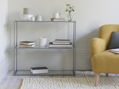 If you want your schizzle to be the star – rather than the shelving it's sitting on – take a gander at this nifty steel and glass number. Storage Boxes, Storage Shelves, Shelving, Pleated Curtains, Curtains With Blinds, Loaf Furniture, Craftsman Lighting, Wooden Console Table, Frame Shelf